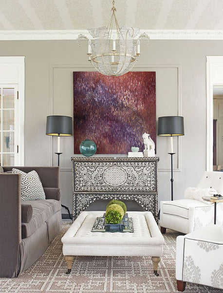 Living room style inspired by fireworks with art by Linda Lamore | Art Design Consultants