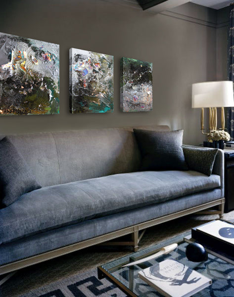 Living room style with artwork inspired by firewokrs. Art by Mary Barr Rhodes | Art Design Consultants