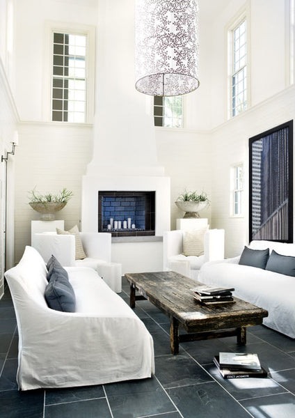 White and slate living room style with mixed media artwork by Marilyn Henrion | Art Design Consultants