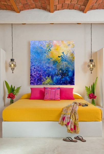 Bright and bold bedroom with original art by Marlene Sanaye Yamada I Art Design Consultants