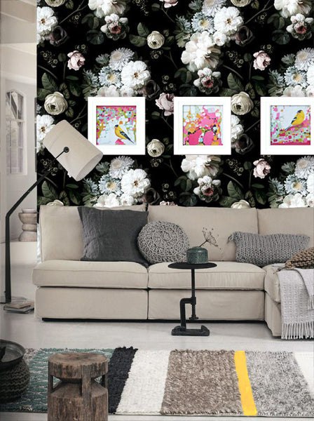 Floral wallpaper with art by Marti Leroux I Art Comes Alive I Blink Art Resource