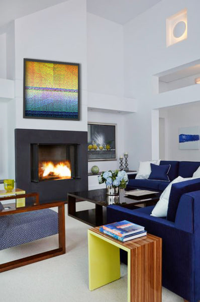 Royal blue living room design with artwork by Michael Novack | Art Design Consultants