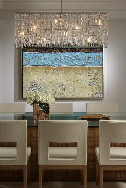 Dining room decor with textured abstract painting by Nancy Eckles