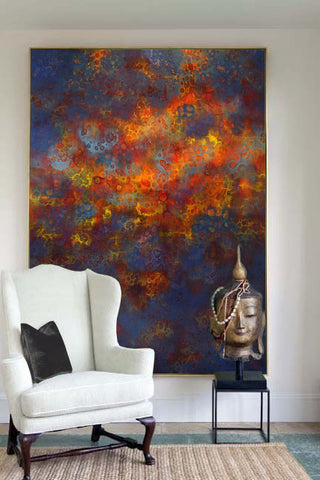 White side chair with Buddha sculpture and oversized abstract painting by Paloa D'Angelico