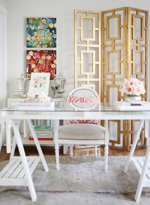 Gold design inspiration with artwork by Heather Robinson | Art Design Consultants