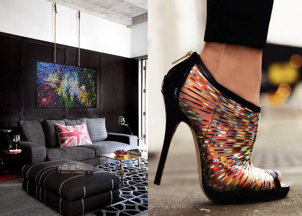Shoe design inspiration with artwork by Sabina Pauta Pieslak | Art Design Consultants