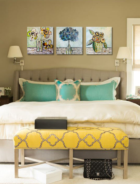 Bedroom Inspired by Spring: floral triptych by Susan Mahan | Art Design Consultants