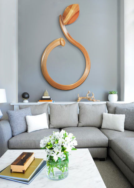 "Living Room Inspired by Spring: Poplar leaf sculpture, ""The Origin"" by Jonathan Cox 