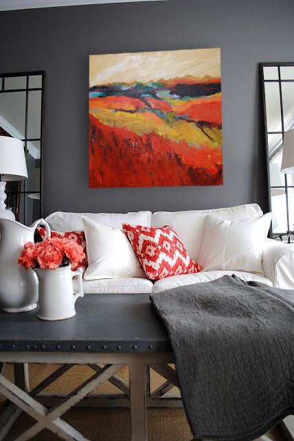 Orange design inspiration. Artwork by Trish Weeks | Art Design Consultants