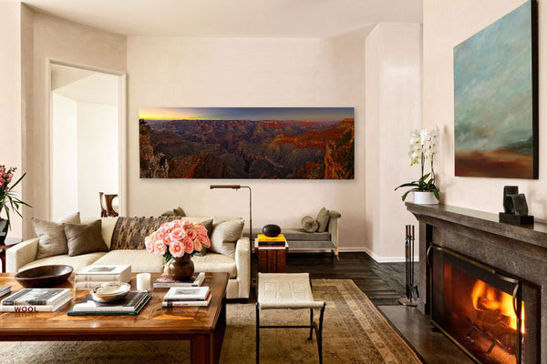 Living room interior design with landscape art by Brian Truono and Cheryl Williams | Art Design Consultants
