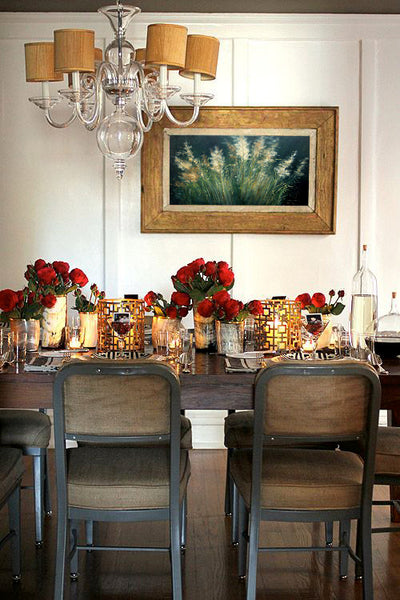 Seasonal table decor and centerpieces with artwork by Jan Wagstaff | Art Design Consultants