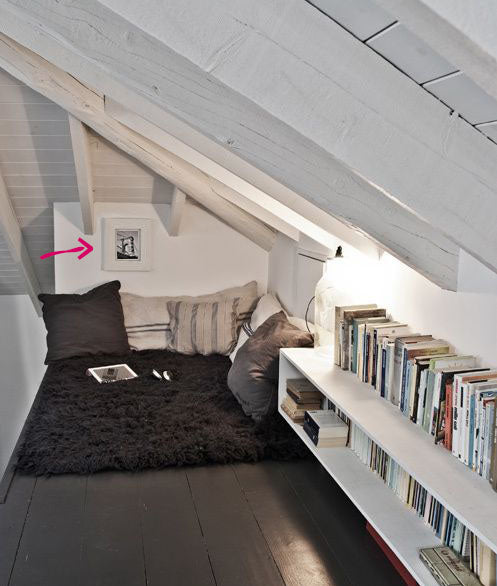 Attic book nook with artwork by Allison Banzhaf I Art Design Consultants