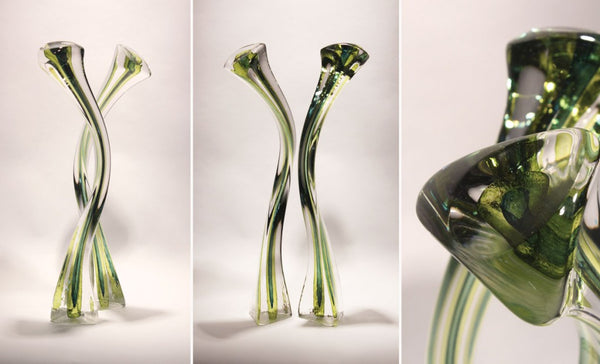 Green glass sculpture by artist Barry Entner | Art Design Consultants