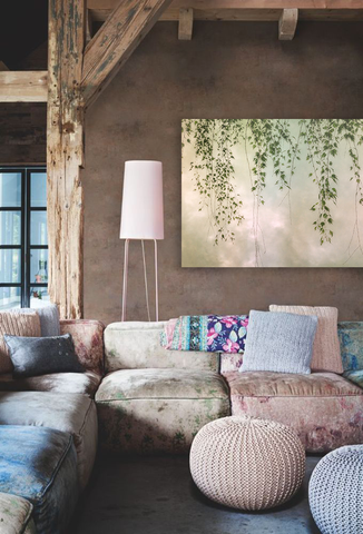 Pastels and boho chic lounge area with photography by Dianne Poinski, Art Design Consultants