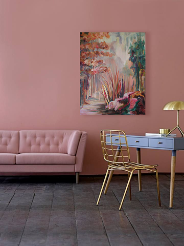 Mauve pink monochromatic living room and desk office with painting by Diedre Dyson