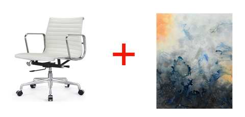 Eames Aluminum Group Side Chair white and a stunning mixed media abstract by Marlene Sanaye Yamada