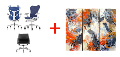 Mirra 2 Chair, Eames Aluminum Group Side Chair white, and an exhilarating non-representational triptych by Pat Zalisko