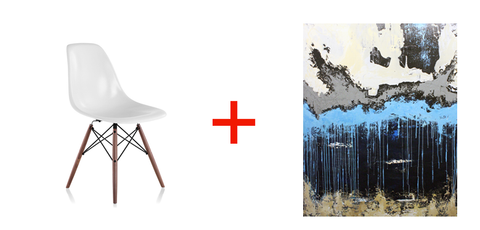 Eames Molded Fiberglass Side Chair and a Memorizing piece by Evan Hildebrandt