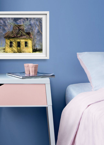 Pink peach and blue bedroom style with artwork by Elizabeth Holmes