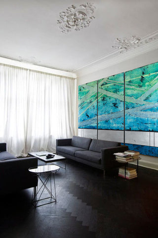 Gray living room with oversized abstract painting by Helene Steene, Art Design Consultants
