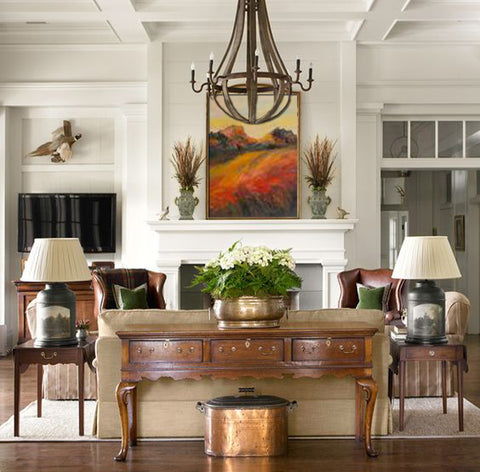 Interior design featuring fall decorating style and seasonal fall colors