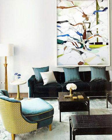 Dark green living room decor with oversized artwork by Jill Lear, Art Design Consultants