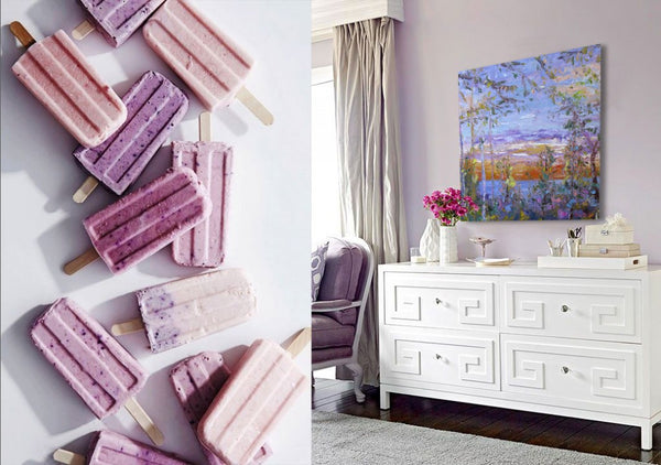 Lavender sherbert inspiration with artwork by Karen Rolfes | Art Design Consultants