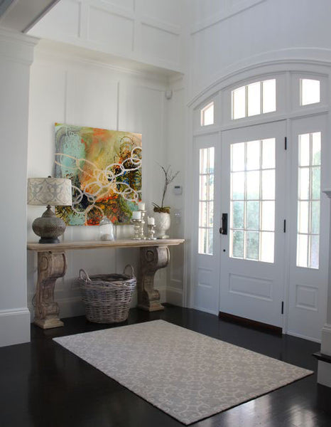 Entryway design inspiration with artwork by Elizabeth Barber Leventhal | Art Design Consultants
