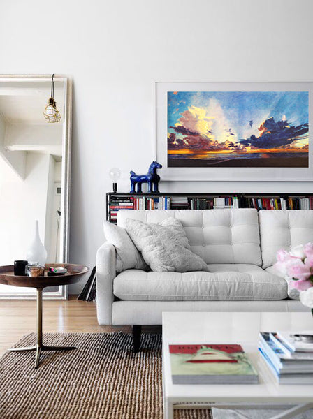 Living room design with landscape painting by Lynda Young Kaffie | Art Design Consultants, Art Comes Alive ACA