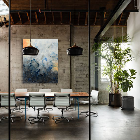 Modern office style, corporate artwork installation with art by Marlene Sanaye Yamada