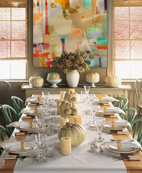 Fall dining room decor with artwork by Ursula Brenner | Art Design Consultants