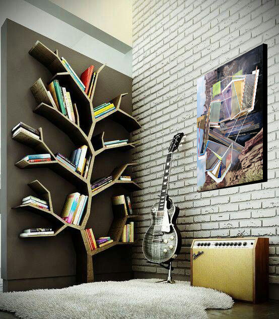 Tree bookshelf design style with original art by Philip LaVelle I Art Design Consultants