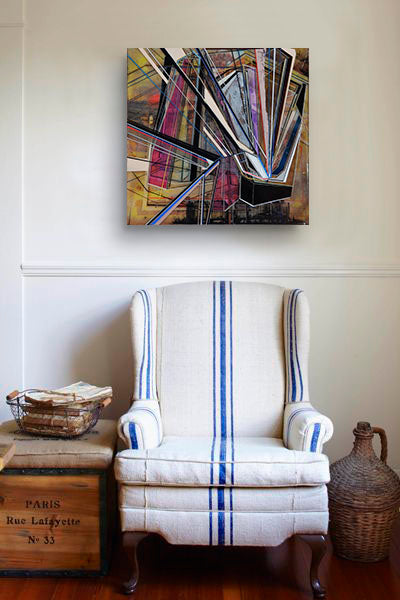 Sitting chair with geometric artwork by Phillip Lavelle | Art Design Consultants