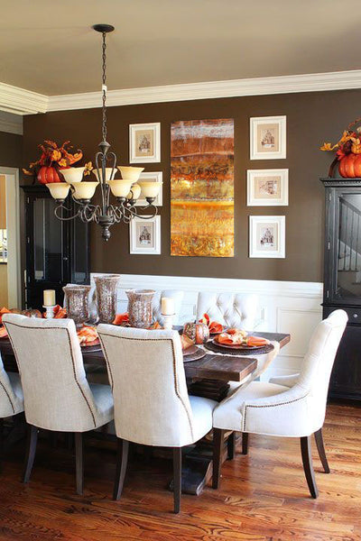 Fall dining room decor with copper artwork by Ken Rausch | Art Design Consultants
