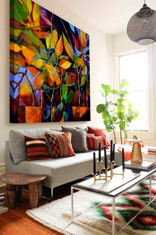 Colorful living room decor with oversized artwork by Ron Gordon Art Design Consultants