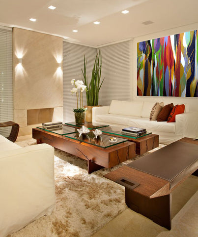 Neutral natural living room style with art by Ron Gordon