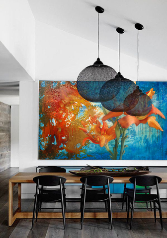 Modern dining table with oversized abstract art by Shepard Hildebrandt, Art Design Consultants