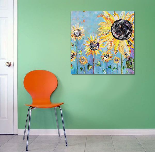 Mint and orange color palette with sunflower painting by Susan Mahan | Art Design Consultants