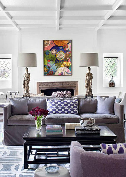 Purple living room decor with mosaic by Suzanne Fisher | Art Design Consultants