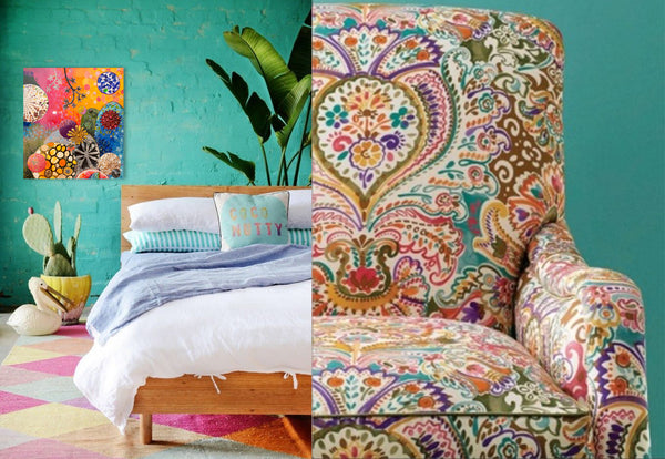 Armchair design inspiration with paisley print. Art by Suzanne Fisher | Art Design Consultants