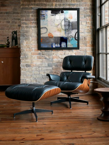 Eames Lounge Chair and Ottoman and a mixed media encaustic by Tom Owen