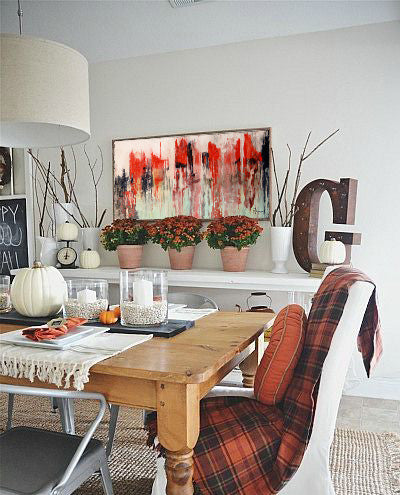 Seasonal dining room decor with artwork by Toni Rhodes | Art Design Consultants Blog