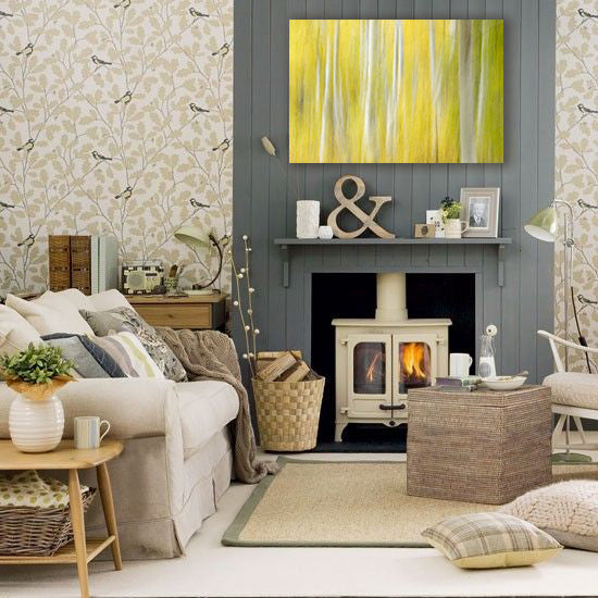 Natural neutral colors living room with yellow artwork by William Neil