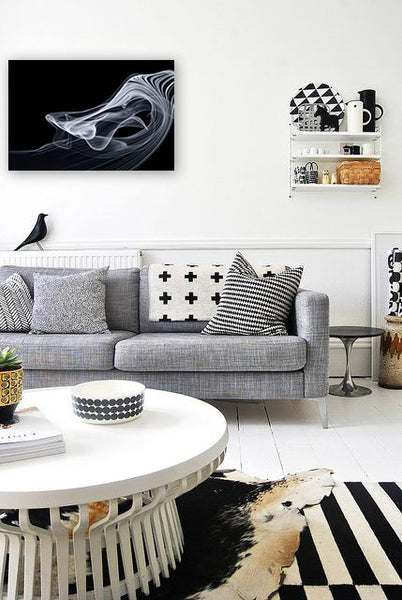 Black and white living room interior with photography by Wind Flow Photography | Art Design Consultants