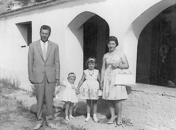 a picture of litsa spanos and her family in the old country