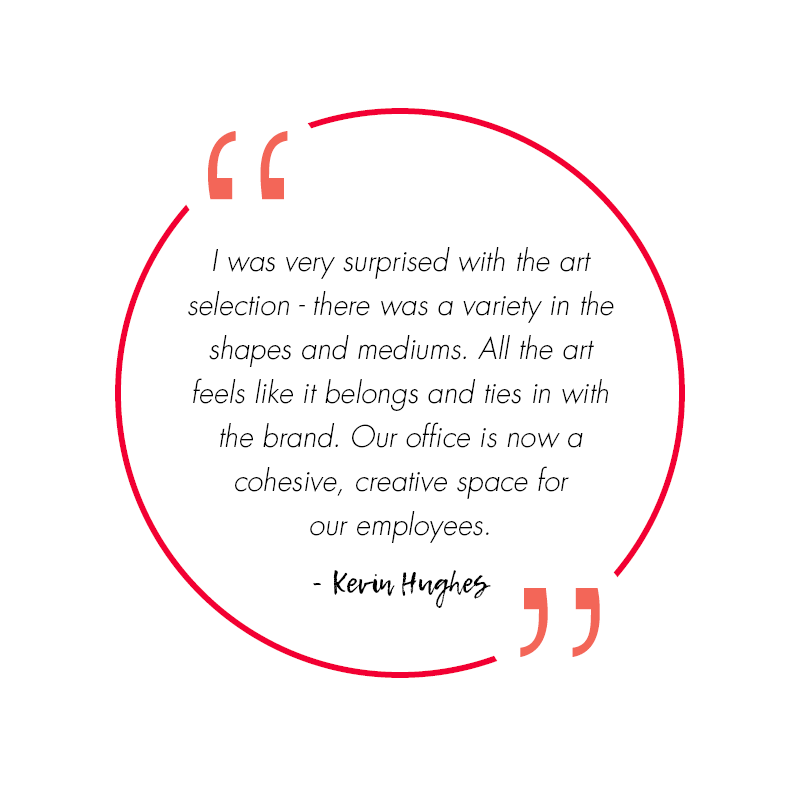 a quote from kevin hughes about working with art design consultants on curating their corporate art collection