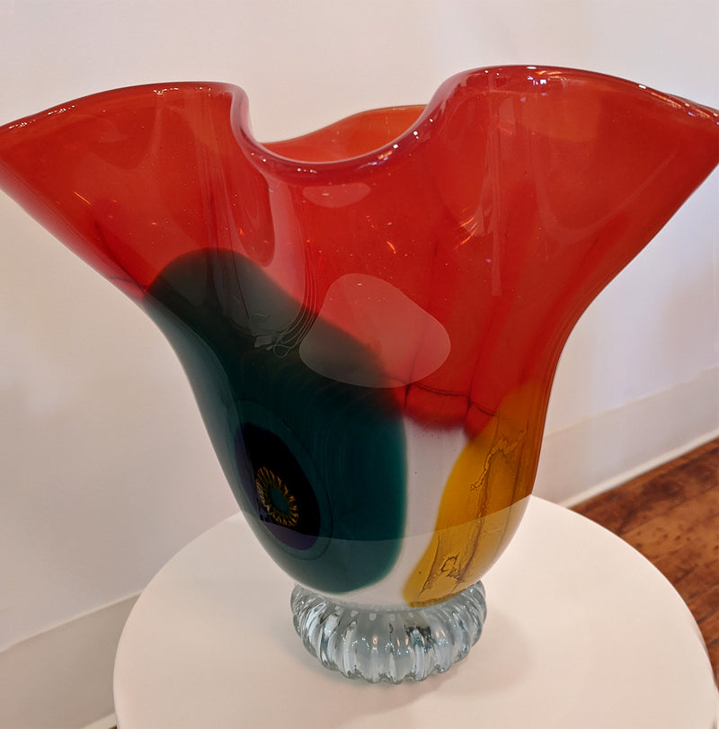 Multicolored Glass Fluted Bowl #108