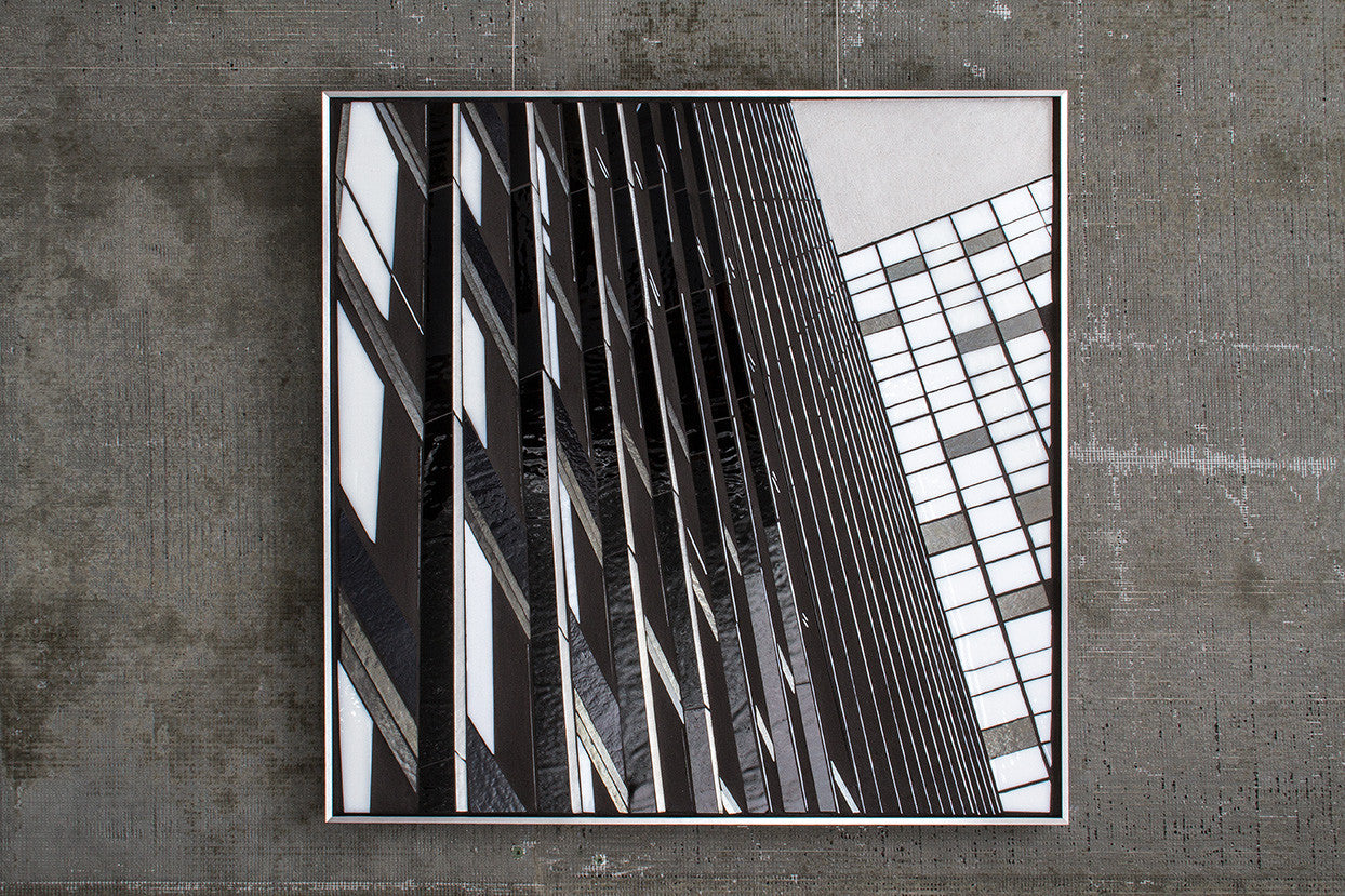 Reflect 1.10 Mies Cityview / 24 x 24 / mixed media with glass