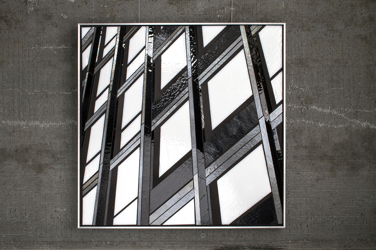 Reflect 1.11 Mies Grid / 24 x 24 / mixed media with glass
