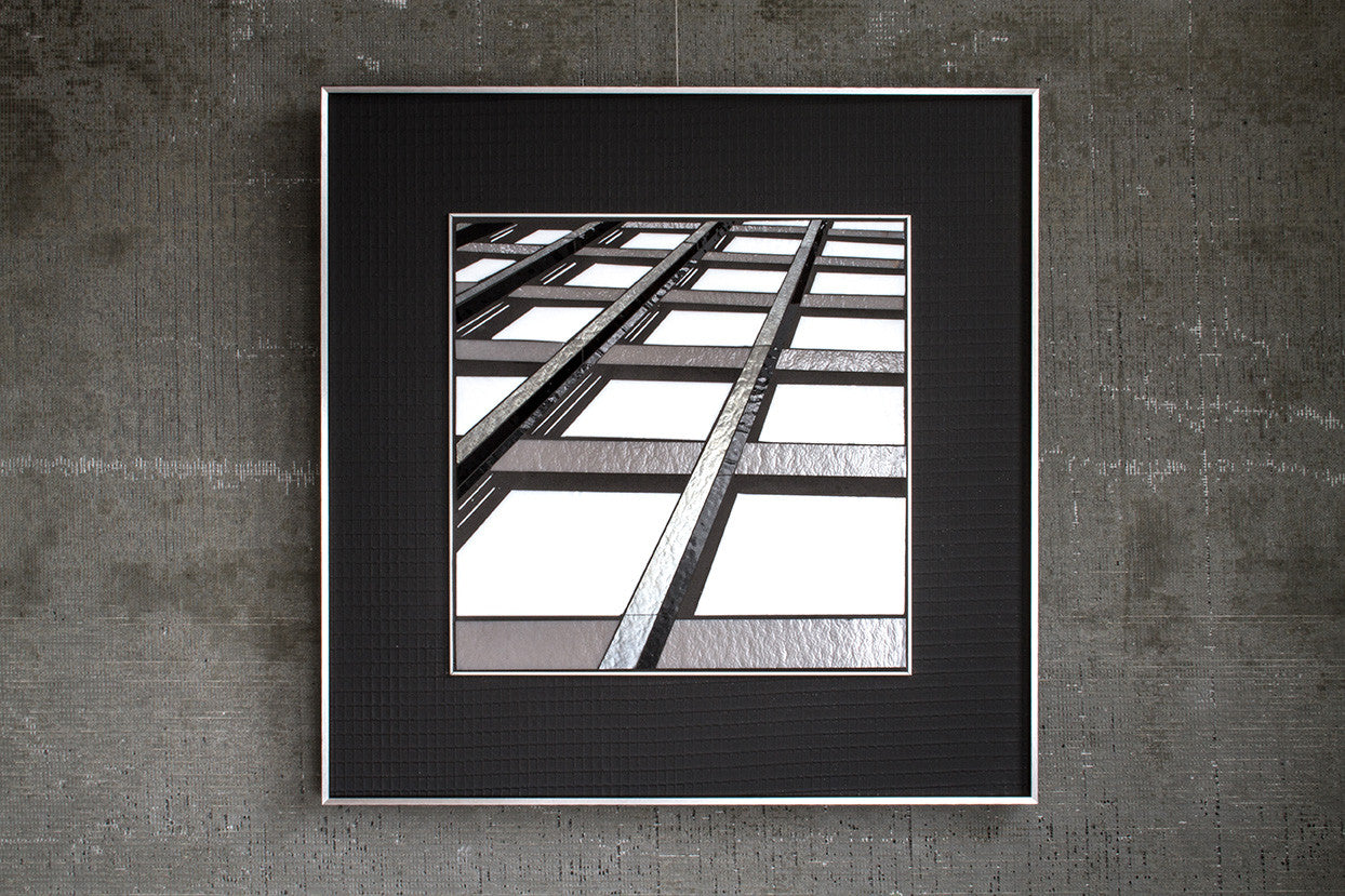 Reflect 2.29 Mies Grid, Chicago / 22 x 22 / mixed media with glass